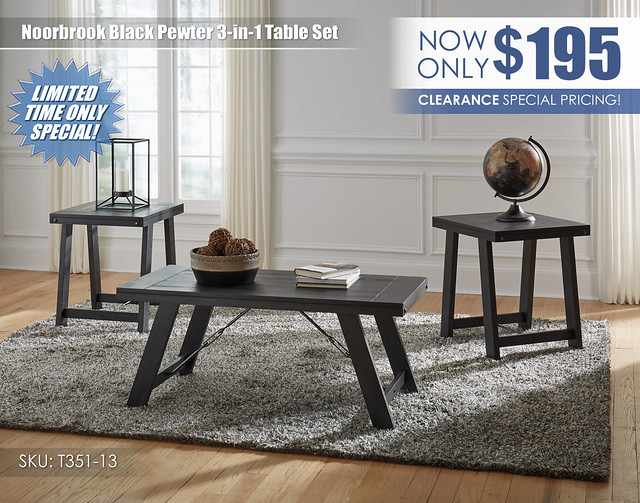 Noorbrook Black Pewter Table Set_Clearance_T351-13