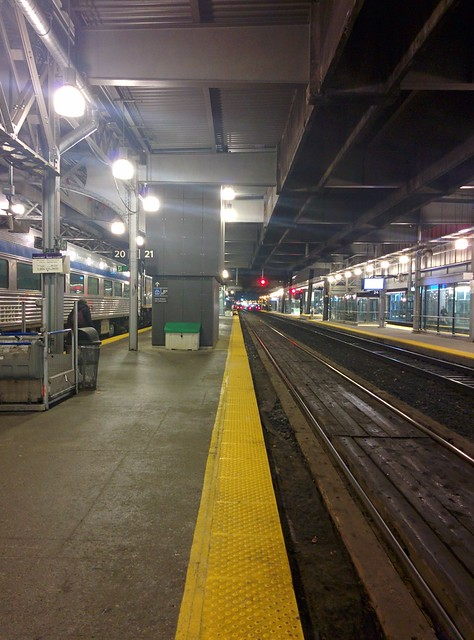 Back #toronto #unionstation #rail #train #viarail #platform #night #yellow #stripes