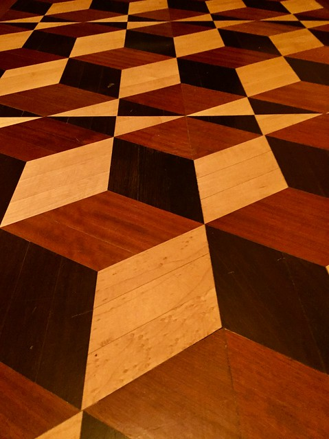 Parquet wood floor at the Prestwould Building in Richmond, Va. USA.