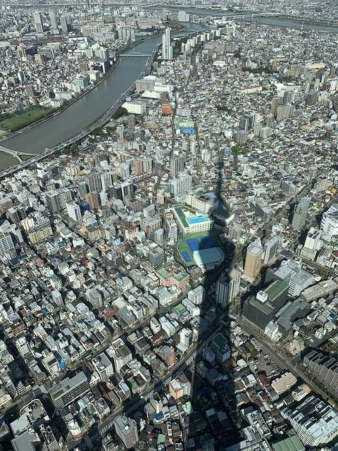Tokyo, view of Sumida, Taito, and Arakawa wards (skytree shadow)