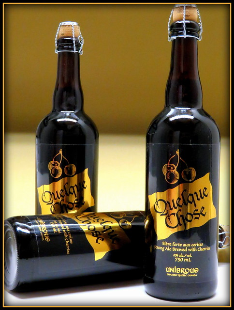 Unibroue-Quelque Chose....a strong brown ale with cherries.  My last three, bought in 2010, not available since, best before date is December 2024.