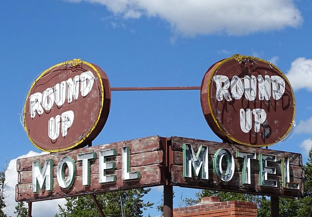 MT, West Yellowstone-Round Up Motel Neon Signs