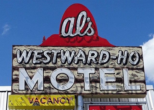 MT, West Yellowstone-Al's Westward Ho Motel Neon Sign