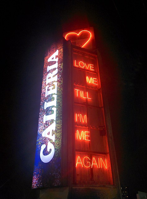 """Love Me Until I'm Me Again"" #toronto #wallaceemerson #galleriamall #neon #red #heart #publicart #night"