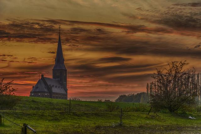 the church behind the dike