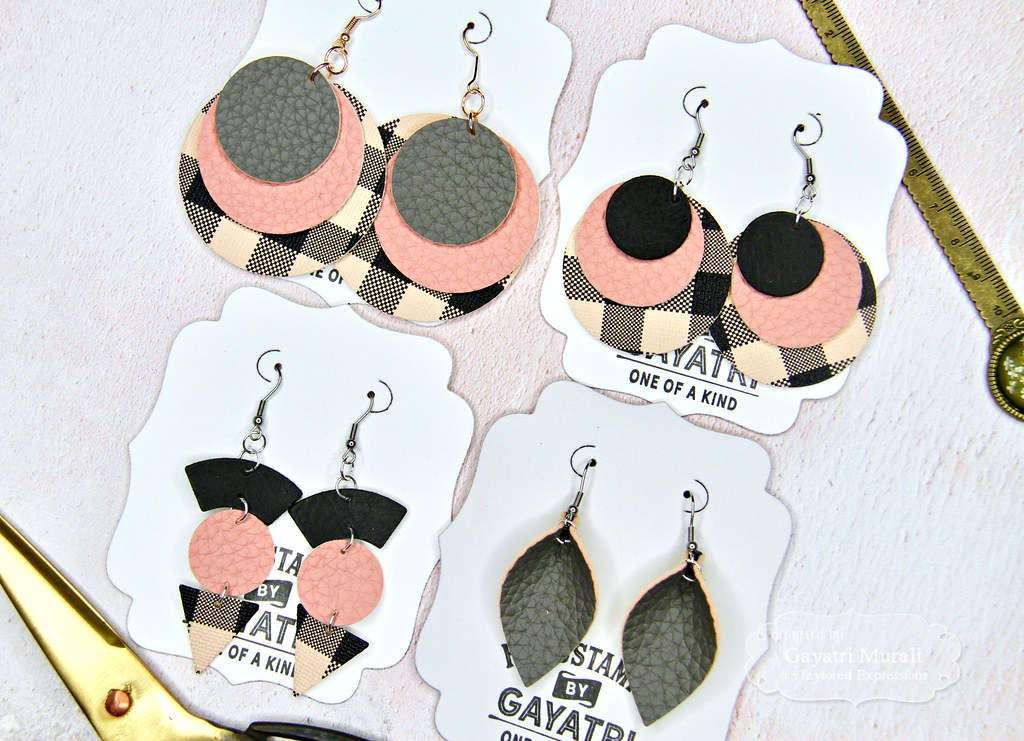 Pink and Black earring set closeup1