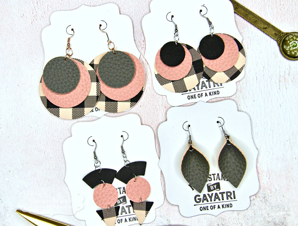 Pink and Black earring set closeup