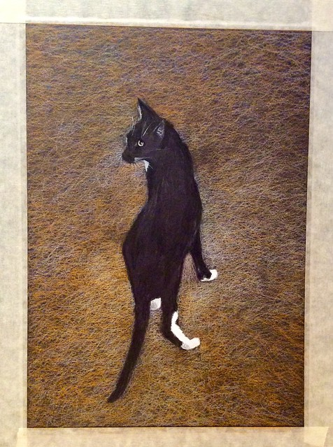 Jenkins, ready to go outside now . Last stage . Coloured pencil drawing on black card by jmsw, highlights in Gouache.