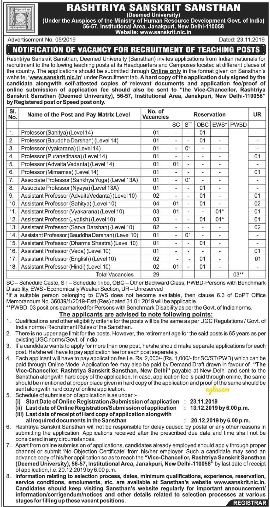 Rashtriya Sanskrit Sansthan Recruitment 2019 Notification Released for Professor, Assistant Professor, Associate Professor Posts