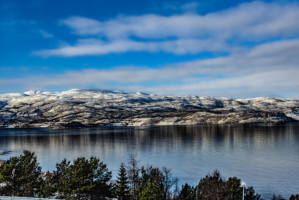 View of mountains across the fjord from Alta, Norway-20a