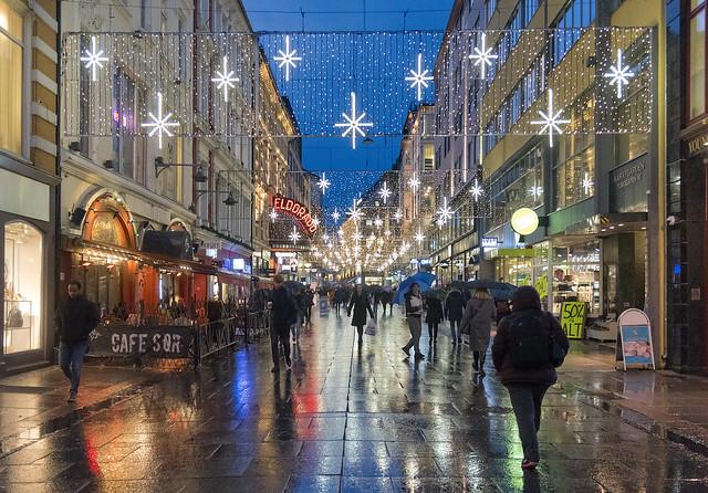 Christmas street in Oslo, Norway