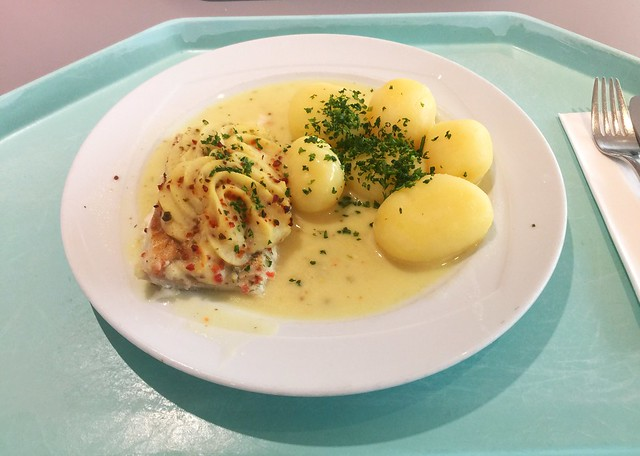 Coalfish filet in white wine sauce with potatoes / Seelachsfilet Bordolaise mit Weißweinsauce & Salzkartoffeln