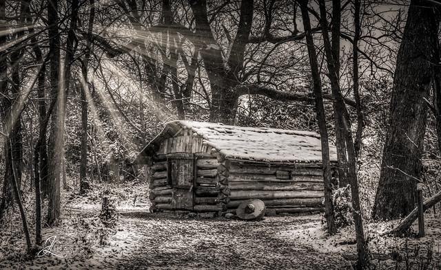 Cabin on a Snowy Day in Black and White