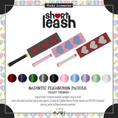 .:Short Leash:. Sadistic Pleasures Paddle Heart Version