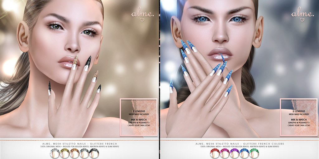 "Alme for Tannenbaum Event powered by Prism Events (opens Nov 23rd) ""Alme Mesh Stiletto nails// Glitters French/Glitters French-Colors"" ♥"
