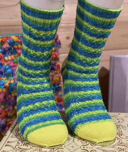 Mortimer by Melinda Measor socks are the second of the nine WIPs that were on Jen's needles that have moved to the FOs! Love her socks!