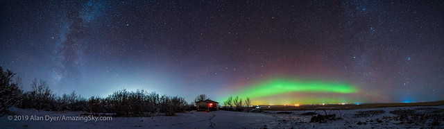 Panorama of the Auroral Arc and Milky Way (Nov 21, 2019)