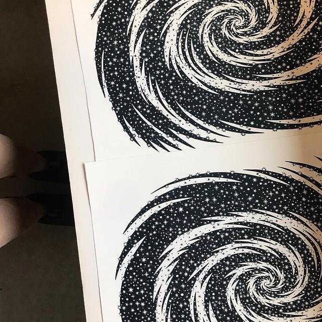 "Printing ""STARDUST"" woodcut"