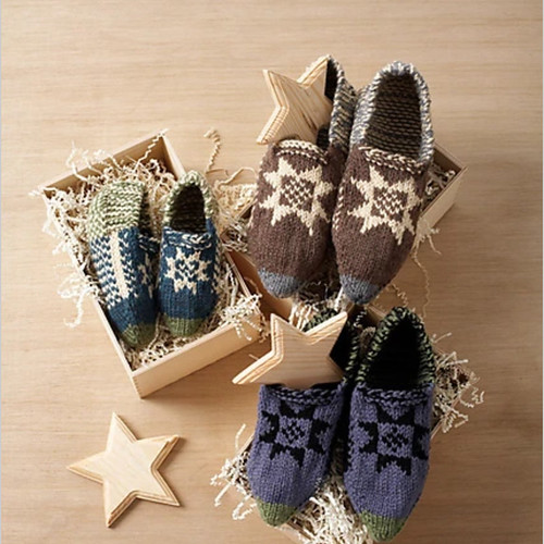 Fair Isle Slippers by Bernat Design Team for Yarnspirations - Beautiful and Free slipper pattern