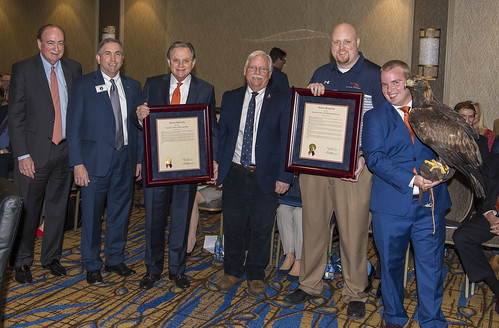 Pictured, from left, are Jay Gogue; Calvin Johnson; Wayne T. Smith; Dr. Jamie Bellah; Dr. Seth Oster; Andrew Hopkins; and Aurea, War Eagle VIII.