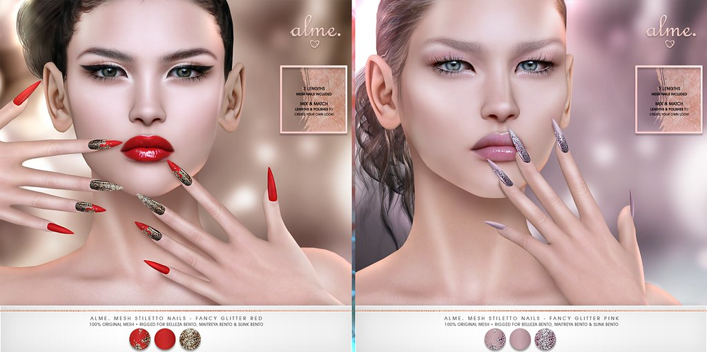 "Alme. // Mainstore Promo Release + Saturday Sale! ""Alme Mesh Stiletto nails// Fancy Glitter// Red & Pink"" ♥"