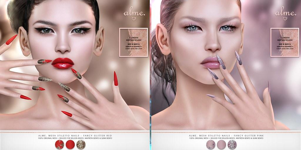 """Alme. // Mainstore Promo Release + Saturday Sale! """"Alme Mesh Stiletto nails// Fancy Glitter// Red & Pink"""" ♥"""