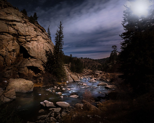 florissant colorado unitedstatesofamerica moonlight landscape mountainlandscape nighttime longexposure adobelightroom rockymountains river stream water nopeople alone lighting dramatic