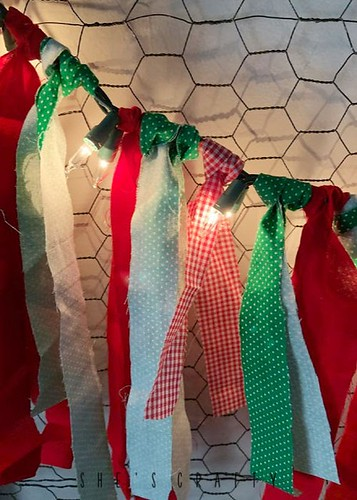 Lighted fabric garland for Christmas