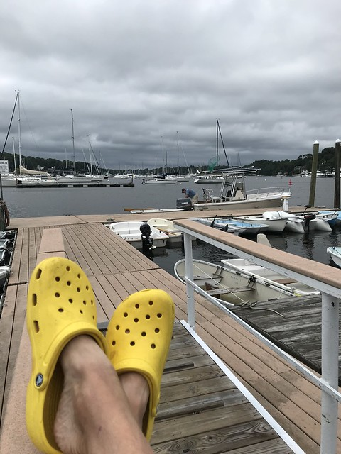 Relaxing on the deck - yellow clogs in view IMG_0457 - JU