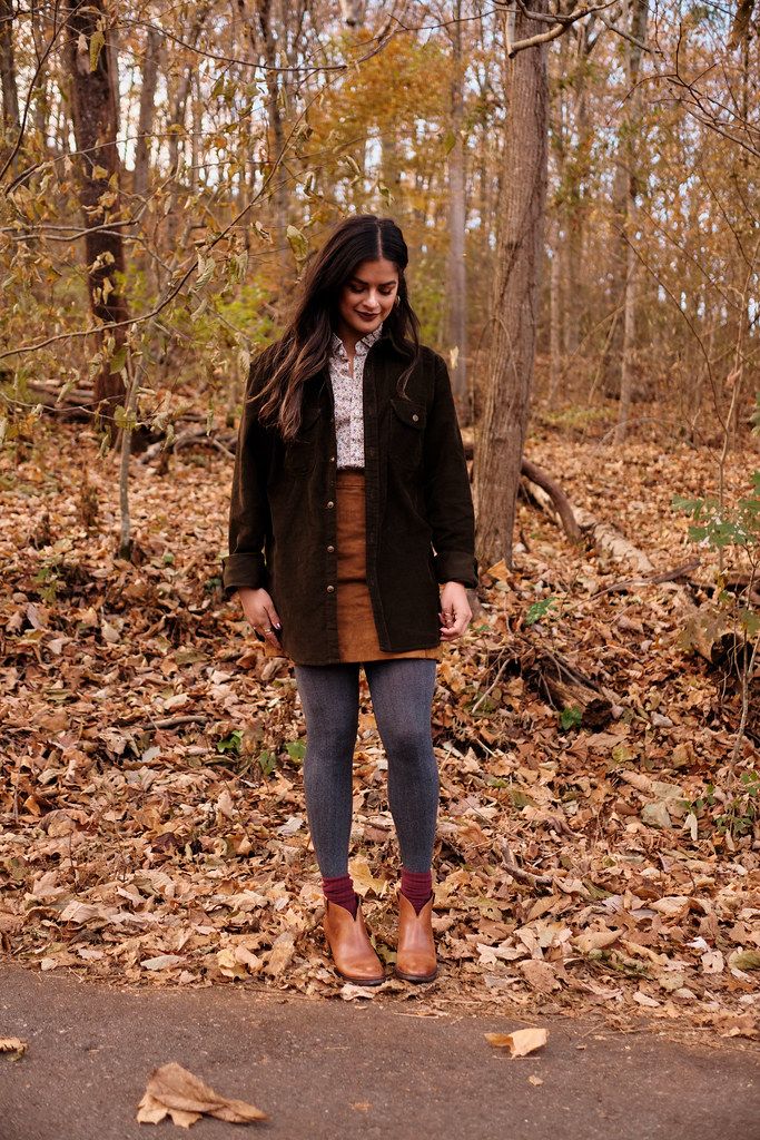 Priya the Blog, Nashville fashion blog, Nashville fashion blogger, Nashville style blog, Nashville style blogger, fall fashion, fall outfit, fall outfit idea, corduroy overshirt, J.Crew Liberty London, suede miniskirt, brown booties, how to wear a corduroy button-up, ColourPop Frick 'n Frack