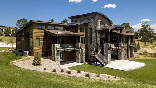 luxury realestate home house mansion large drone mavicpro sanden colorado architecture grass green stairs porch brick wood