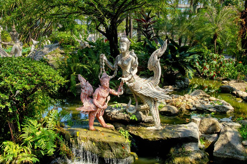 Sculptures in the garden of Erawan museum in Samut Phrakan near Bangkok, Thailand