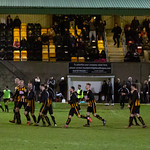 Huntly players celebrate advancing to the Aberdeenshire Shield semi-finals