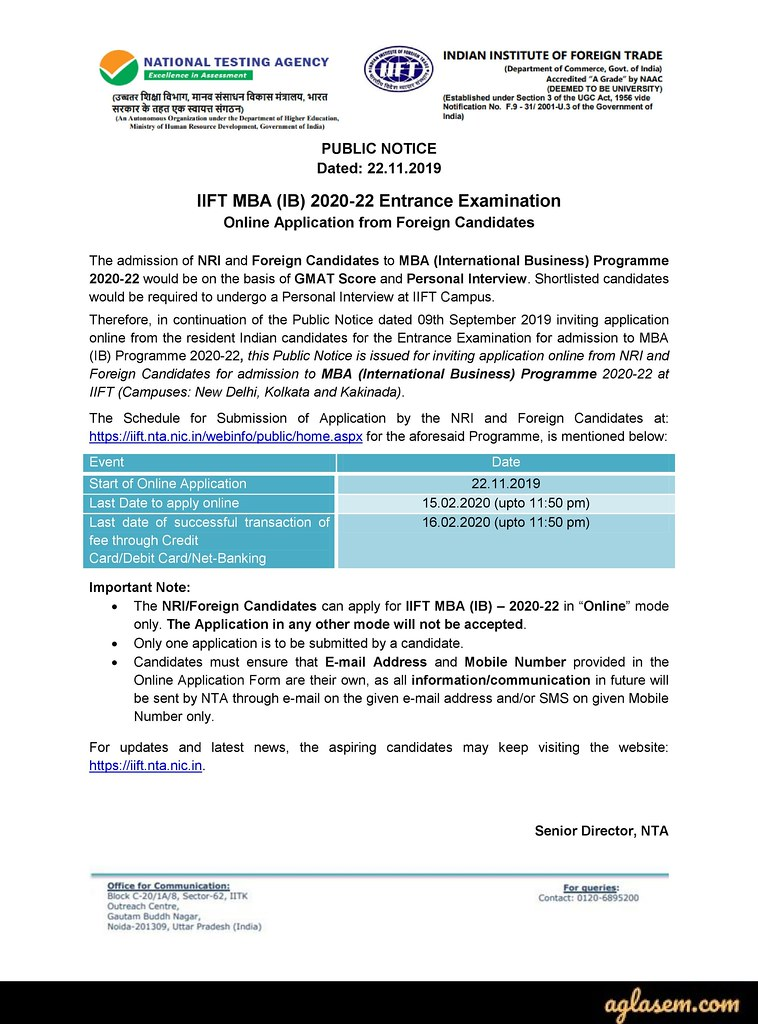 IIFT 2020 registration notice for foreign candidates.