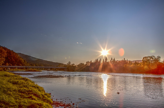 sunrise on river, HDR