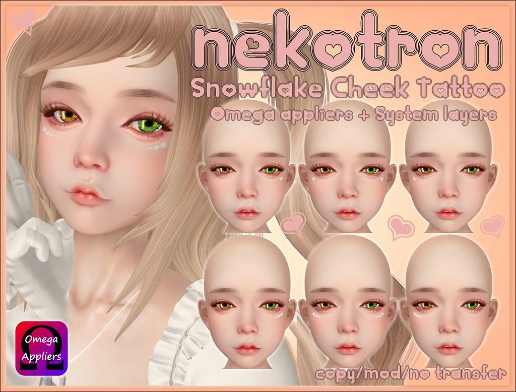 [Nekotron] Snowflake Cheek Tattoo (Omega + System Appliers)