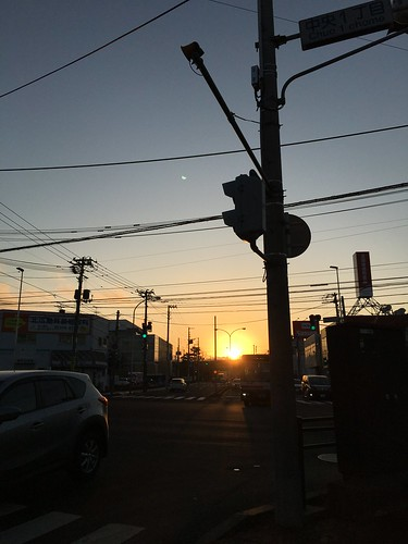 23november2019 edited kitahiroshima hokkaido japan road commute sunset wires lines downtown intersection sky