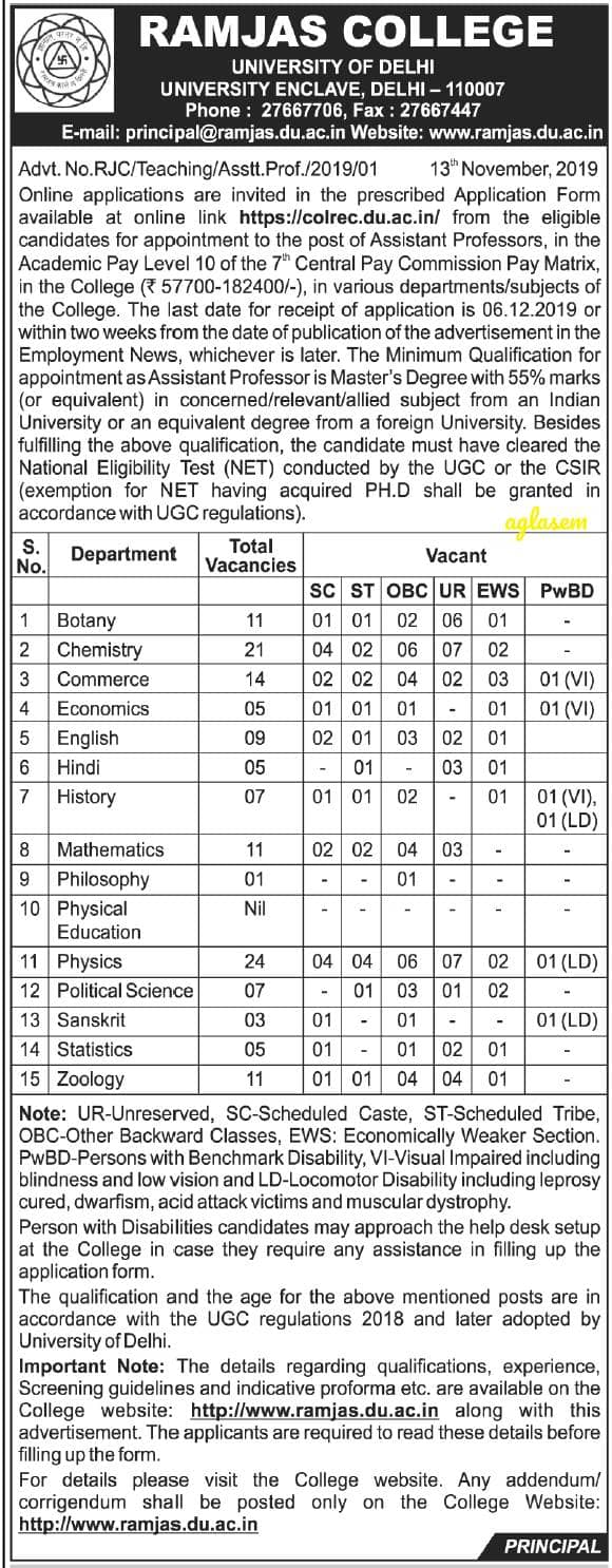Ramjas College Assistant Professor Recruitment 2019 Notification Released for 134 Vacancies; Applications Invited Online