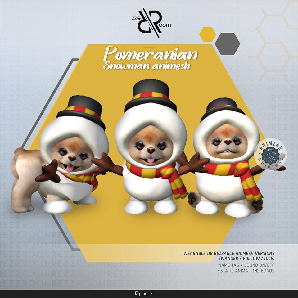 Pomeranian Snowman Animesh