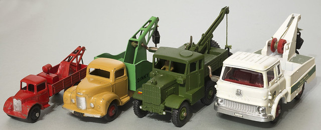 Four Dinky Toys Recovery Trucks