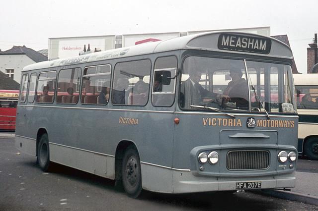 Victoria Motorways . Woodville , Burton-on-Trent , Derbyshire .  HFA207E . Burton-on-Trent , Staffordshire . Saturday 30th-August-1969 .