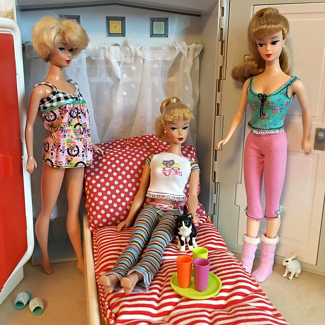 My repro Barbies having a Pyjama party