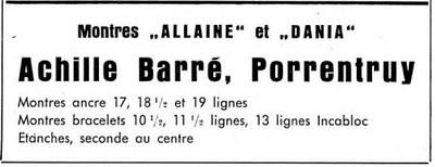 Davoine 1954 Achille Barre advert