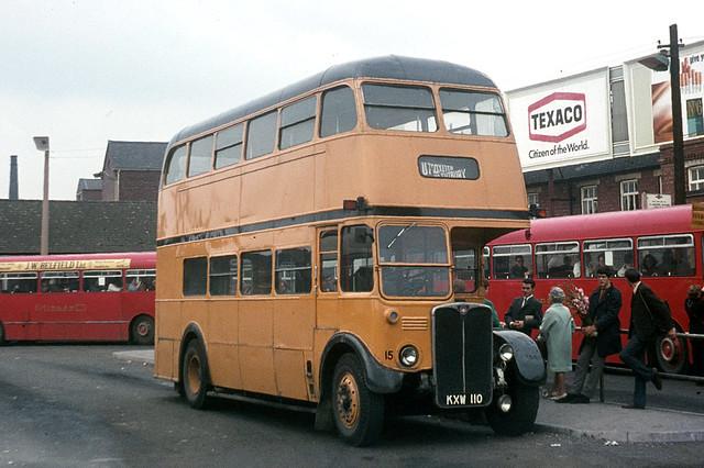 John Stevenson . Spath , Staffordshire . 15 KXW110 . Burton-on-Trent Bus Station , Staffordshire . Saturday 30th-August-1969 .