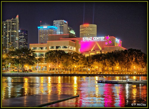 tampa riverwalk night hillsborough river water refelction colors strazcenter sikes skylight cityscape nightscape outdoor flickr wharf trees lights city canon eos slr 6d beauty spotlights evening beautiful pink blue neon
