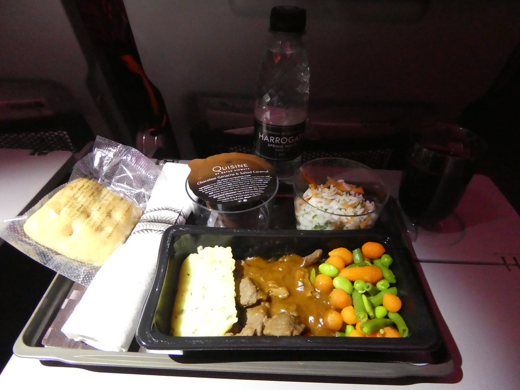 Dinner served in the economy cabin of Qatar Airways