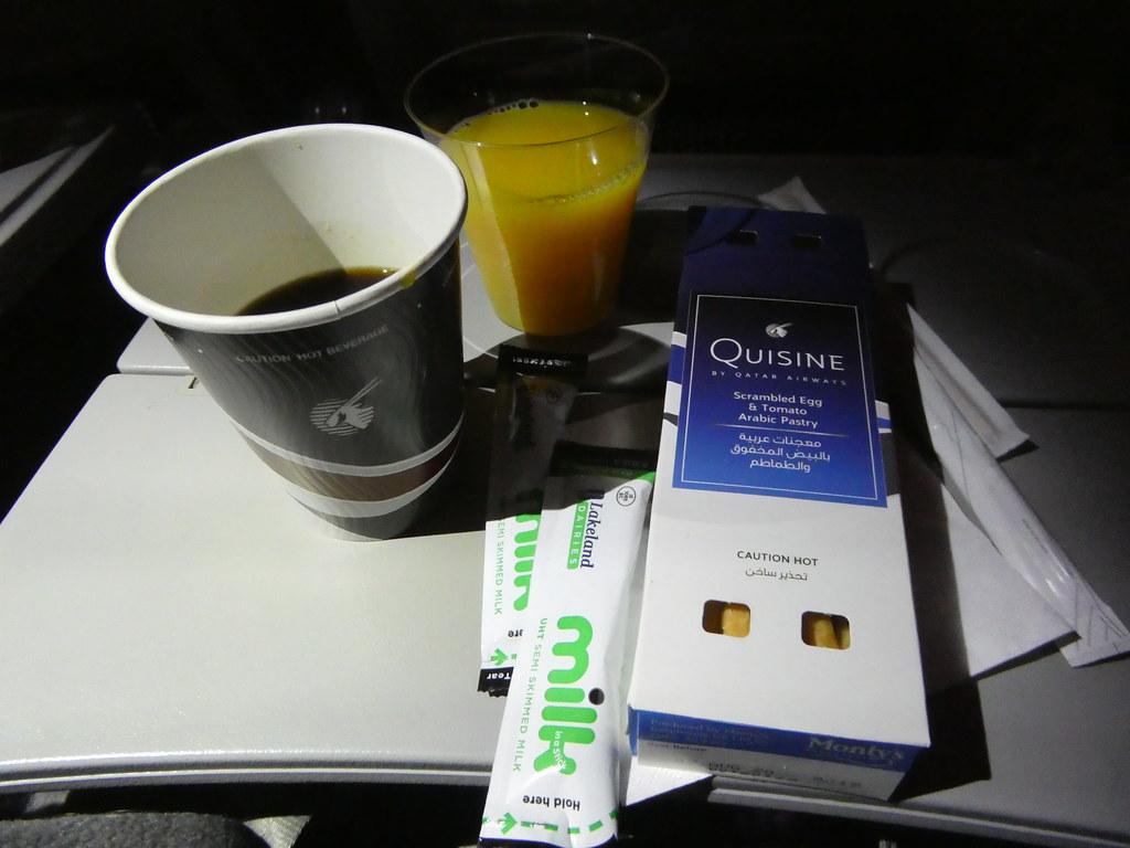 Breakfast served on Qatar Airways Economy Cabin