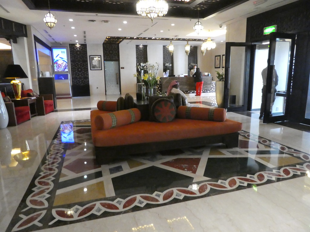 The entrance lobby of the Mirqab Boutique Hotel, Doha