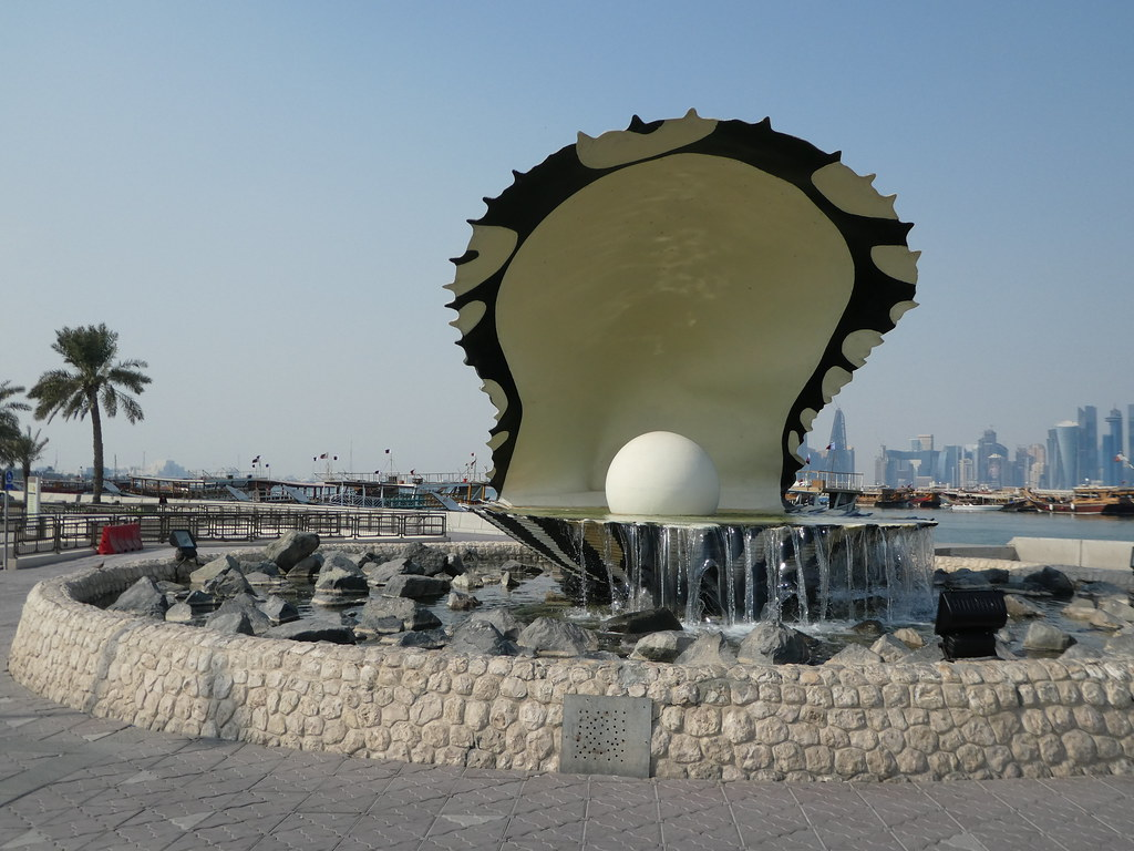 The Pearl Monument on the Corniche, Dhoa with views across to West Bay