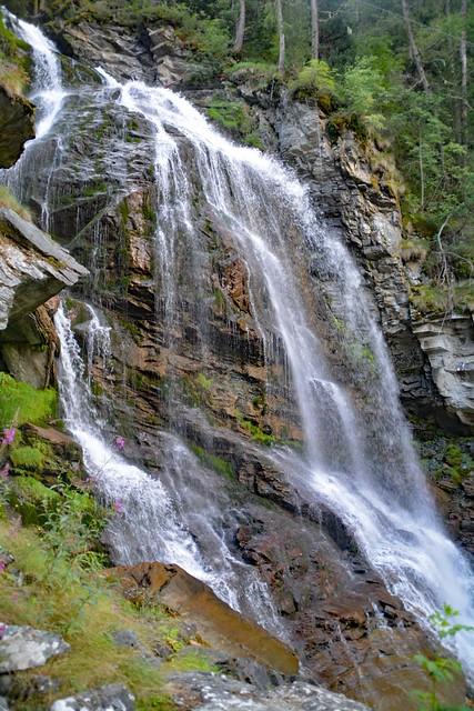 La cascata di Mascognaz in agosto